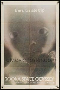 2g006 2001: A SPACE ODYSSEY 1sh R74 Stanley Kubrick, image of star child, thick border design!