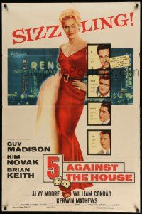 2g007 5 AGAINST THE HOUSE 1sh '55 great art of super sexy Kim Novak gambling in Reno Nevada!