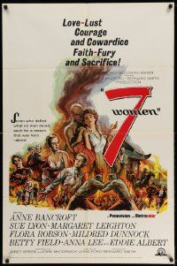 2g009 7 WOMEN 1sh '66 directed by John Ford, Anne Bancroft, Sue Lyon, art of top stars!