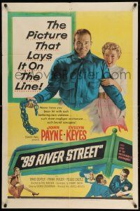 2g011 99 RIVER STREET 1sh '53 John Payne with sexy double-crossing Evelyn Keyes & Peggie Castle!