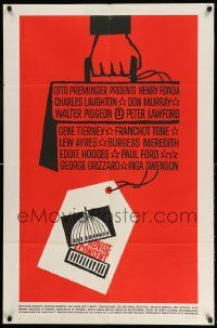 2g013 ADVISE & CONSENT 1sh '62 Otto Preminger, classic Saul Bass Washington Capitol artwork!
