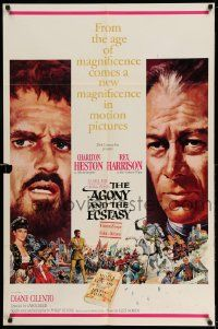 2g016 AGONY & THE ECSTASY roadshow 1sh '65 Terpning art of Charlton Heston & Rex Harrison!