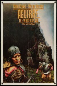 2g017 AGUIRRE, THE WRATH OF GOD 1sh '77 Werner Herzog, art of crazy Klaus Kinski by M. Deas!