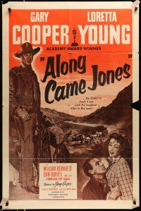 2g022 ALONG CAME JONES 1sh R53 wonderful art of Gary Cooper + holding sexy Loretta Young!
