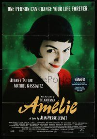 2g024 AMELIE Canadian 1sh '01 Jean-Pierre Jeunet, great close up of Audrey Tautou!