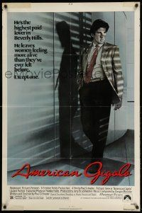 2g025 AMERICAN GIGOLO 1sh '80 handsomest male prostitute Richard Gere is being framed for murder!