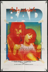 2g028 ANDY WARHOL'S BAD 1sh '77 Carroll Baker, Perry King, sexploitation black comedy!