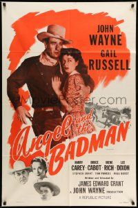 2g029 ANGEL & THE BADMAN 1sh R59 great artwork of cowboy John Wayne & sexy Gail Russell!