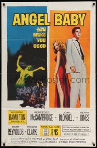 2g030 ANGEL BABY 1sh '61 full-length George Hamilton standing with sexiest Salome Jens!