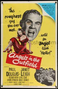 2g031 ANGELS IN THE OUTFIELD 1sh '51 artwork of Paul Douglas & sexy Janet Leigh, baseball!
