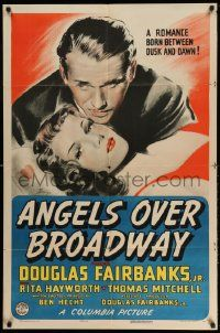 2g032 ANGELS OVER BROADWAY 1sh '40 Banye art of sexy Rita Hayworth & Douglas Fairbanks Jr!