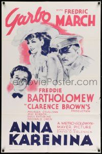 2g034 ANNA KARENINA 1sh R62 beautiful Greta Garbo, Fredric March, Freddie Bartholomew