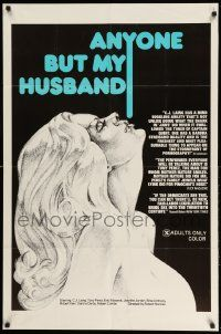 2g037 ANYONE BUT MY HUSBAND 1sh '75 art of sexy C.J. Laing, directed by Roberta Findlay!