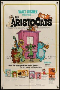 2g044 ARISTOCATS 1sh '71 Walt Disney feline jazz musical cartoon, great colorful art!
