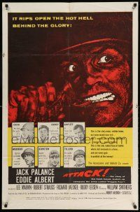 2g046 ATTACK 1sh '56 Robert Aldrich, art of WWII soldiers Jack Palance & Eddie Albert!