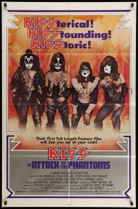 2g048 ATTACK OF THE PHANTOMS 1sh '78 cool portrait of KISS, Criss, Frehley, Simmons, Stanley