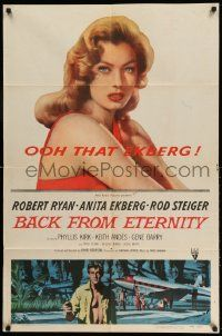 2g051 BACK FROM ETERNITY 1sh '56 super close up of that sexy Anita Ekberg, Robert Ryan!