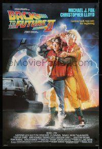 2g053 BACK TO THE FUTURE II 1sh '89 art of Michael J. Fox & Christopher Lloyd by Drew Struzan!
