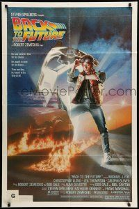 2g052 BACK TO THE FUTURE studio style 1sh '85 art of Michael J. Fox & Delorean by Drew Struzan!