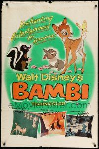 2g056 BAMBI 1sh R57 Walt Disney cartoon deer classic, great art with Thumper & Flower!