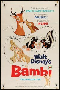 2g057 BAMBI style A 1sh R66 Walt Disney cartoon deer classic, great art with Thumper & Flower!