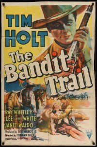 2g058 BANDIT TRAIL style A 1sh '41 cool close up art of Tim Holt with rifle + helping pretty girl!