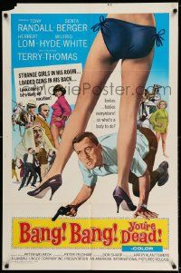 2g061 BANG BANG YOU'RE DEAD 1sh '66 wacky art of Tony Randall crouching between sexy legs!
