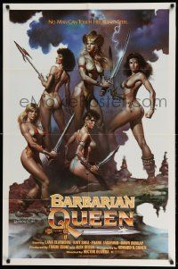 2g062 BARBARIAN QUEEN 1sh '85 sexy artwork of five near-naked female warriors by Boris Vallejo!