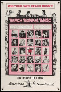 2g066 BEACH BLANKET BINGO advance 1sh '65 Frankie & Annette, different, Win Your Own Beach Bunny!