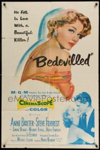 2g067 BEDEVILLED 1sh '55 Steve Forrest fell in love with beautiful blue-eyed killer Anne Baxter!