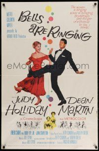 2g071 BELLS ARE RINGING 1sh '60 image of Judy Holliday & Dean Martin singing & dancing!