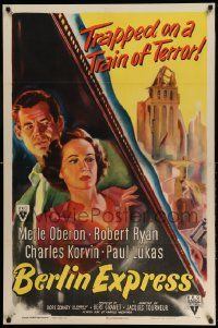 2g073 BERLIN EXPRESS style A 1sh '48 Merle Oberon & Robert Ryan, directed by Jacques Tourneur!