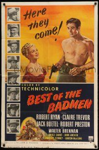 2g074 BEST OF THE BADMEN 1sh '51 art of barechested Robert Ryan & sexy Claire Trevor!