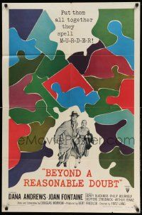 2g076 BEYOND A REASONABLE DOUBT 1sh '56 Fritz Lang noir, art of Dana Andrews & Joan Fontaine!