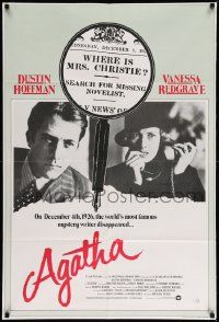2g015 AGATHA English 1sh '79 Dustin Hoffman, Vanessa Redgrave as Agatha Christie, magnifying glass