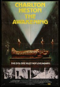 2g049 AWAKENING English 1sh '80 Charlton Heston, completely different image of sarcophagus!