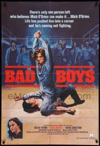 2g055 BAD BOYS English 1sh '83 life has pushed Sean Penn into a corner, wild prison fight art!