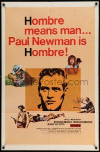 2g403 HOMBRE 1sh '66 Paul Newman, Fredric March, Richard Boone, ultra rare style!