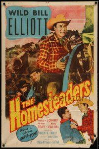 2g404 HOMESTEADERS 1sh '53 William 'Wild Bill' Elliot, Robert Lowery, James Seay!