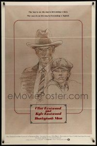 2g407 HONKYTONK MAN int'l 1sh '82 art of Clint Eastwood & his son Kyle Eastwood by J. Isom!