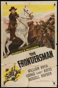 2g409 HOPALONG CASSIDY style A 1sh '47 art of William Boyd, The Frontiersman!