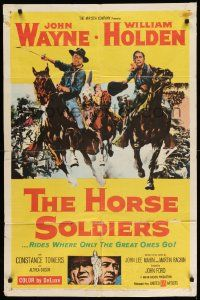 2g410 HORSE SOLDIERS 1sh '59 art of U.S. Cavalrymen John Wayne & William Holden, John Ford