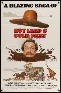 2g412 HOT LEAD & COLD FEET 1sh '78 Disney, wacky art of Don Knotts in mud from the neck down!