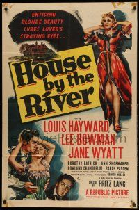 2g414 HOUSE BY THE RIVER 1sh '50 Fritz Lang, enticing blonde beauty lures lover's straying eyes!