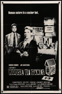 2g416 HOUSE OF GAMES 1sh '87 David Mamet, Lindsay Crouse, human nature is a sucker bet!