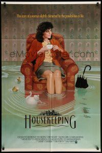 2g417 HOUSEKEEPING int'l 1sh '87 wild image of Christine Lahti in flooded house!