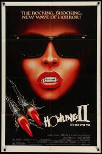 2g420 HOWLING II 1sh '85 cool art of Annie McEnroe in shades as werewolf!