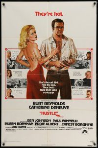 2g424 HUSTLE 1sh '75 Robert Aldrich, art of Burt Reynolds & sexy Catherine Deneuve!