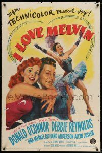 2g425 I LOVE MELVIN 1sh '53 great romantic art of Donald O'Connor & Debbie Reynolds!