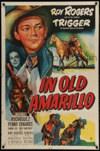 2g428 IN OLD AMARILLO 1sh '51 cool art of Roy Rogers & his horse Trigger in Texas!